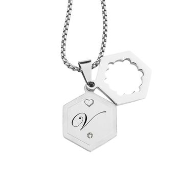 Double Hexagram Initial Necklace with Cubic Zirconia by Pink Box - V