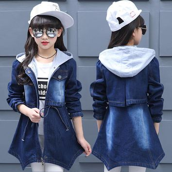 Big Girls Denim Clothing Children Coats Baby Kids Hooded Overcoats 2018 Child Spring Outwear Autumn Long Jackets Casual Tee Tops