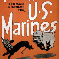 WWI Poster Teufel Hunden, German Nickname For U.S. Marines Devil Dog Recruiting