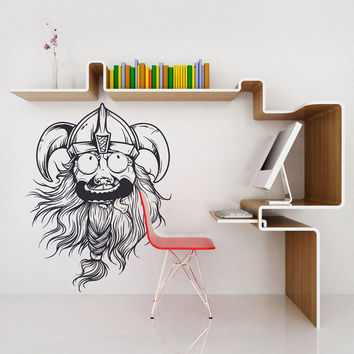 I166 Wall Decal Vinyl Sticker Art Decor Design boy cartoon story viking helmet beard face man game room for children