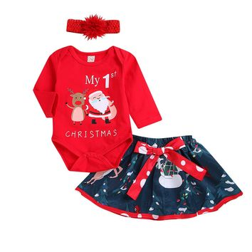 US Infant Kid Baby Girl Christmas Romper Bodysuit Tutu Lace Dress Outfit Clothes