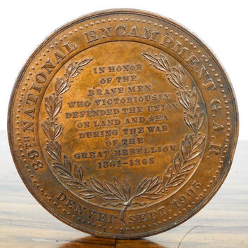 Antique 1905 Pikes Peak Civil War Brass Coin