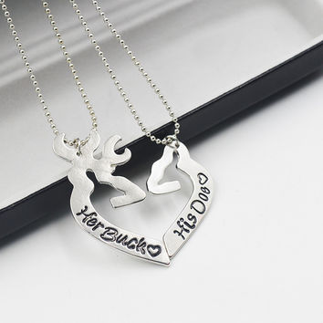 2pc Deer Hunting Her Buck His Doe Necklaces Kissing Heart Minimalist Hollow Heart Shape Pendant Special Couples Gift Lovers