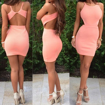 FASHION BACKLESS TIGHT DRESS
