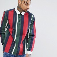ASOS Regular Fit Rugby Shirt With Stripes at asos.com