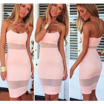 Mesh Stitching Bodycon Pencil Dress