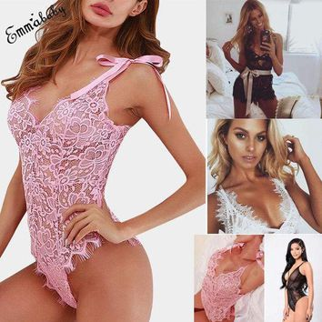 Womens Stretch Bodysuit Sleeveless Lingerie Lace Leotard Top Backless Jumpsuit