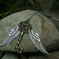 Harry potter-inspired key with wings necklace