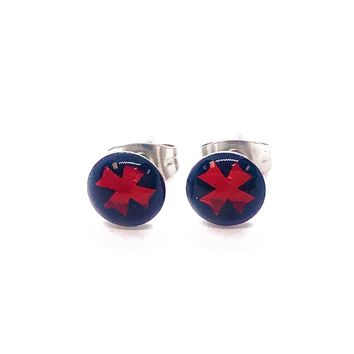 Glossy Red Cross Stainless Steel Studs