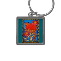 Sleeping Beauty Colorful Cat Art Keychain