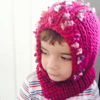 Knit Toddler Hat - Handmade Baby Hat - Baby Girl Clothing - Baby Clothes - Purple Knit Hat - Knit Overall Hat Scarf - Warm Winter Hat