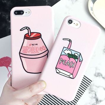 LOVECOM Cartoon Fruit Peach Drinks Phone Case For iPhone XS Max XR XS 6 6S 7 8 Plus X Milk Box Soft Silicon Back Cover Cases