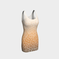 Ombre orange and white swirls doodles Bodycon Dress Bodycon Dress