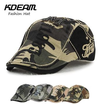 Camouflage Berets Cap Women Summer Outdoor Breathable Hats Solid Sun Hat Flat Cotton Newsboy Adjustable Caps for Men