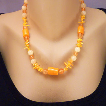 Yellow Coral with Yellow Jade and Citrine Gold Vermeil Necklace Set