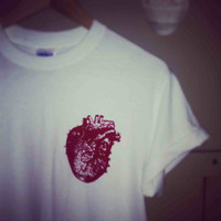 Anatomical Heart Ladies White T Shirt - hand screen printed - biology - anatomy - love heart - body organs