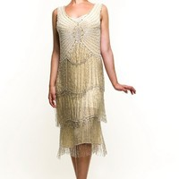 Ivory & Silver Beaded Fringe Reproduction Flapper Dress - XS to 2XL - Unique Vintage - Cocktail, Evening  Pinup Dresses
