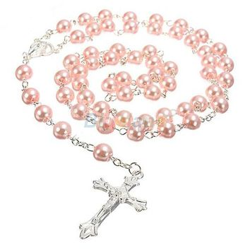 New Long Rosary Chain Imitate Pearl Ball Beads Pendant Necklace Silver Drop Cross 5 Colors 1NOX 6OBB