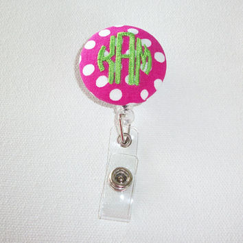 Retractable ID Badge Holder Reel  - Fabric Button -  you choice of polka dots with monogram 3 initial custom