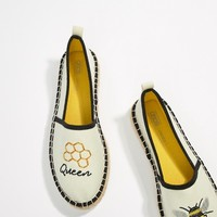 ASOS DESIGN Joellie Queen Bee Novelty Espadrilles at asos.com