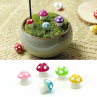 F85 Hot Mushroom Toadstool Miniature Colorful Fairy Garden Terrarium Figurine Decor