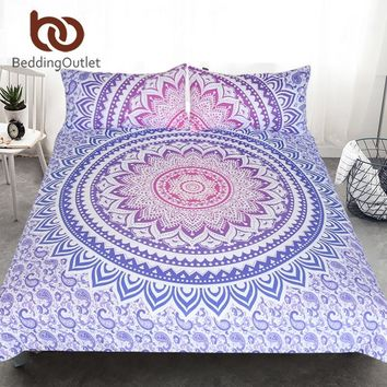 BeddingOutlet Mandala Flower Bedding Set Bohemian Girls Floral Duvet Cover Queen Size Pink and Purple Bedspread Exotic 3Pcs