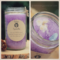 "Hand-poured ""Spirituality"" Candle. Made with sandalwood essential oil, myrrh and cinnamon herbs, and blue caclite gemstone"