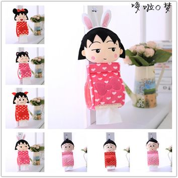 Candice guo super cute plush toy cartoon Chibi Maruko chan rabbit monster toilet facial tissue paper hang girl birthday gift 1pc