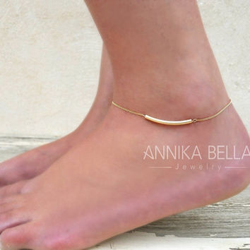 Tube Anklet, Gold Filled Tube Anklet, Dainty Gold Anklet, Delicate Tube Ankle Bracelet, Layering Anklet, Gold Foot Jewelry.