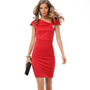 Summer Women Elegant Business Casual Solid Slim Sexy Dress Work Evening Party Bodycon Sheath Office Pencil Dresses