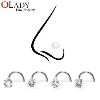ac PEAPO2Q Crystal Zironia Nose Rings  Piercing Jewelry 316L Stainless Steel - 3MM