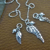 ANGEL WING CHARM  Sterling Silver Solid or Cut Out Filigree Angel Wing with Swarovski Pearl Add to Your Necklace or Bracelet