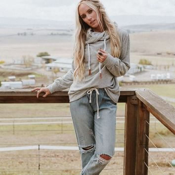 Rebel Heart Oversized Sweatshirt - Heather Gray
