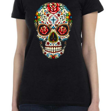 Day of the Dead Sugar Skull with Roses Printed T Shirt   Custom Design for Halloween or Gothic Wear in all sizes...Free Shipping!!