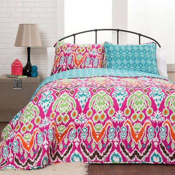 Lush Decor Jaipur 3-pc. Reversible Quilt Set (Pink)