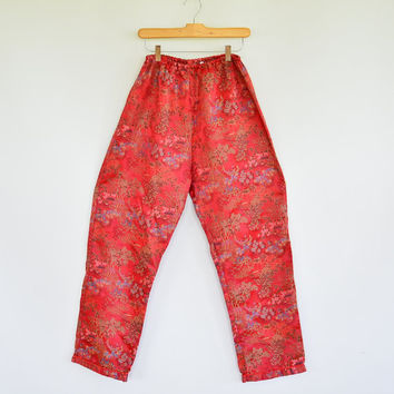 Satin Brocade Embroidered Pants Comfortable Elastic Waist Chinese Traditional Embroidered Brocade Relaxed Fit High Waisted Slouchy Slacks