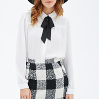 FOREVER 21 Club Collar Chiffon Blouse Cream/Black
