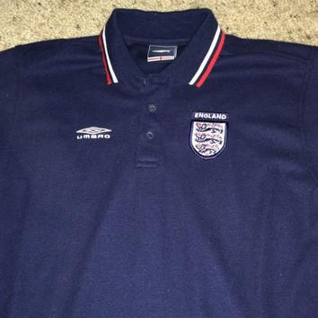 Sale!! Vintage Umbro England soccer polo shirt football jersey size youtl XL Free US S