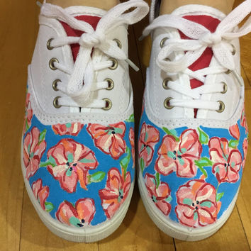 "Hand Painted Lilly Pulitzer Lace Sneakers ""Lucky Charms"""