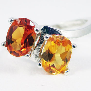 Orange and Yellow Sapphire Double Oval Ring Sterling Silver, September Birthstone Ring, 925 Two Stone Ring, Yellow Orange Sapphire Oval Ring
