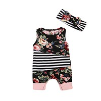 Newborn Baby Girls Floral Romper Striped Jumpsuit + Bow Headband Outfits Clothes