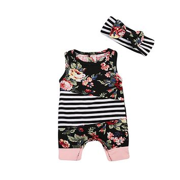 Baby Girl Rompers Summer Girls Flower Newborn Baby Clothes Cute Baby Jumpsuits headband set Infant Girls Clothing