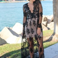 Black Embroidered Maxi Dress with Long Sleeves