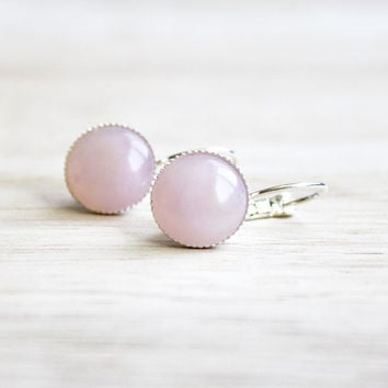 rosy quartz // silver, pink cabochon earrings - feminine everyday jewelry - 13 mm - summer earrings
