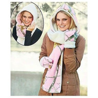 Pink Camouflage Hooded Reversible Scarf Glove Set Realtree Berber Lined Fleece