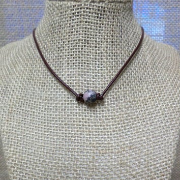 Matte Pink & Grey Rhodonite Gemstone Semi-Precious Stone Genuine Leather Cord Choker Necklace Pearl Slip Knot Closure