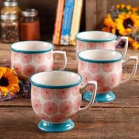 The Pioneer Woman Flea Market Happiness 15 oz Decorated Mugs, Red & Turquoise, Set of 4 - Walmart.com