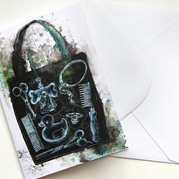 XRay Bag Greetings Card by kissthefuture on Etsy