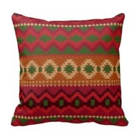 Pre-columbian America Aztec Inca Mayan Rug Theme Throw Pillow
