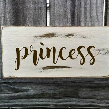 PRINCESS Rustic Sign / Distressed Wooden Sign / PRINCESS Vintage Sign / PRINCESS Rustic Sign